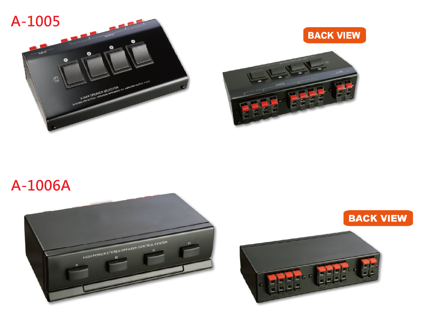 A-1005 / A-1006A : High Power 4 Way Stereo Speaker Switch