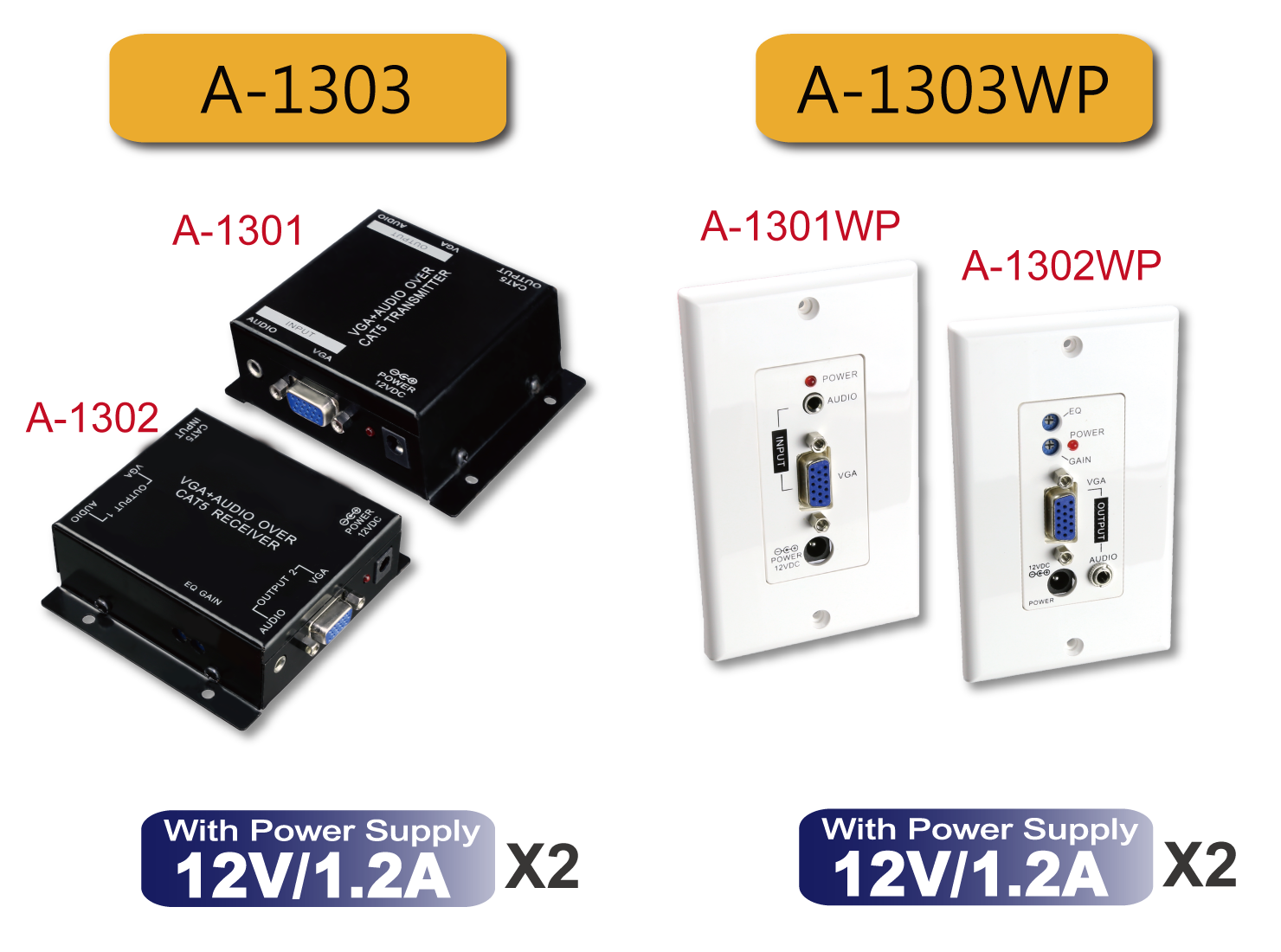 A-1303 / A-1303WP : Active VGA plus Audio over CAT5 Extender