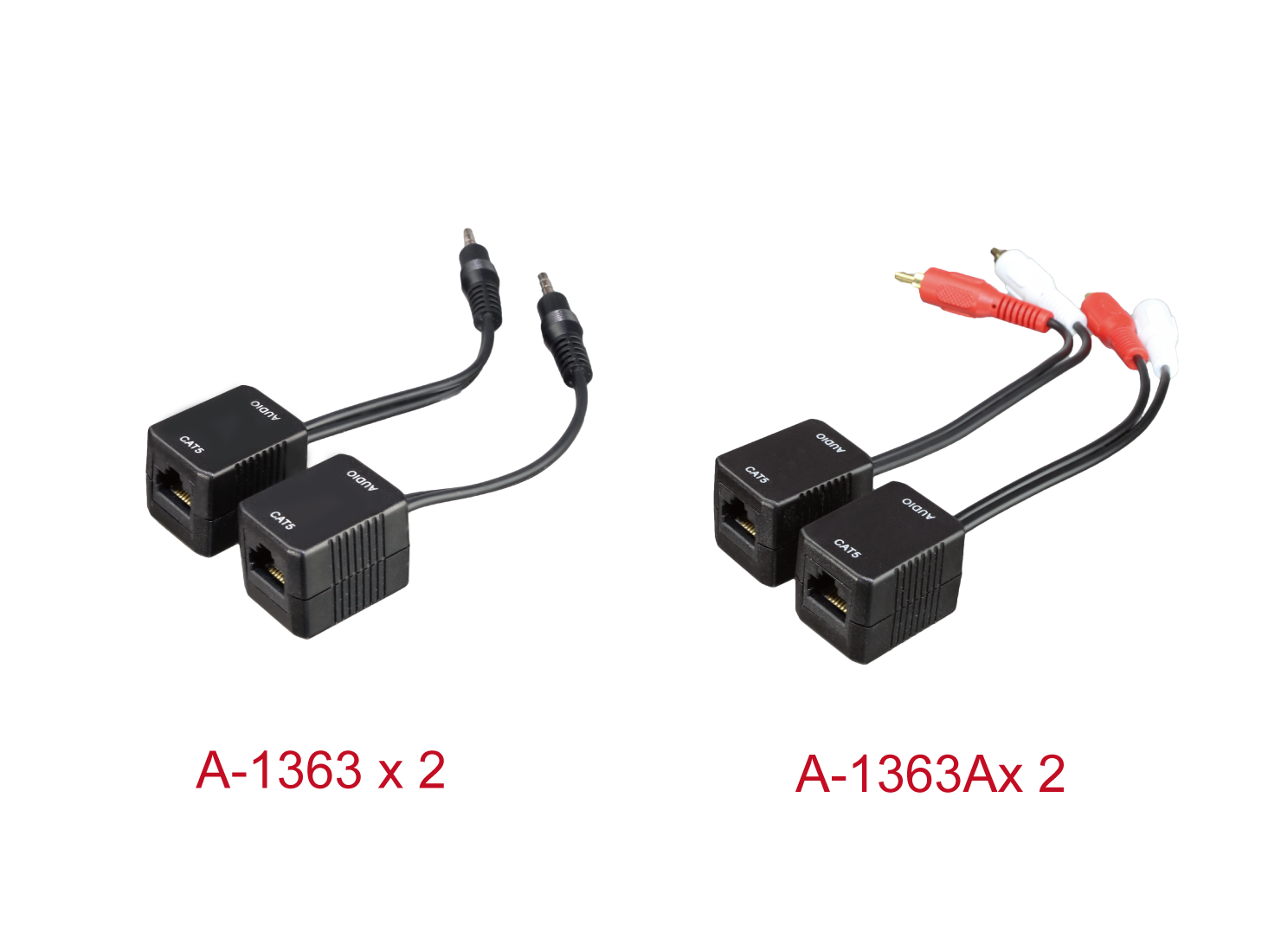 A-1363A X2 / A-1363 X2 : Stereo Audio CAT5 Extender Box / 3.5 mm Stereo Audio CAT5 Extender Box