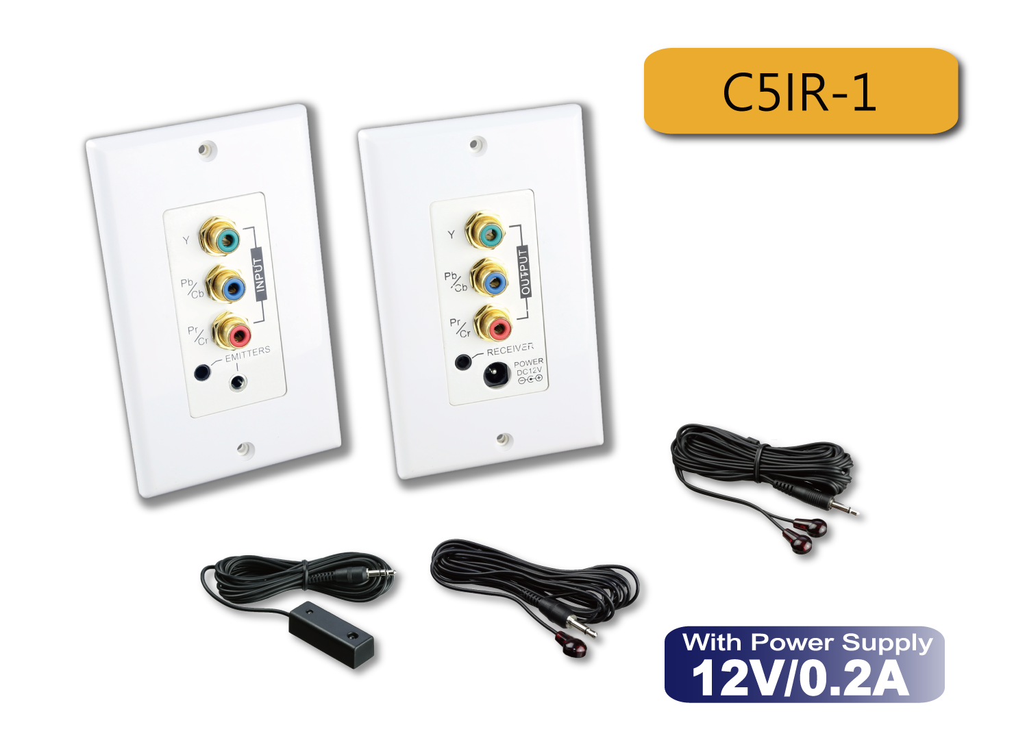 C5IR-1 : In-Wall Component Video CAT5 Extender with IR Kits