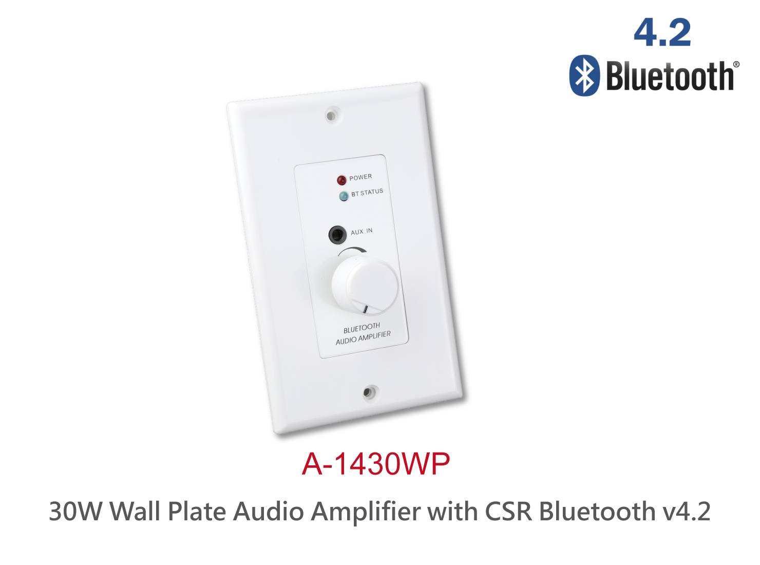 In-wall High power Bluetooth v4.2 audio power amplifier